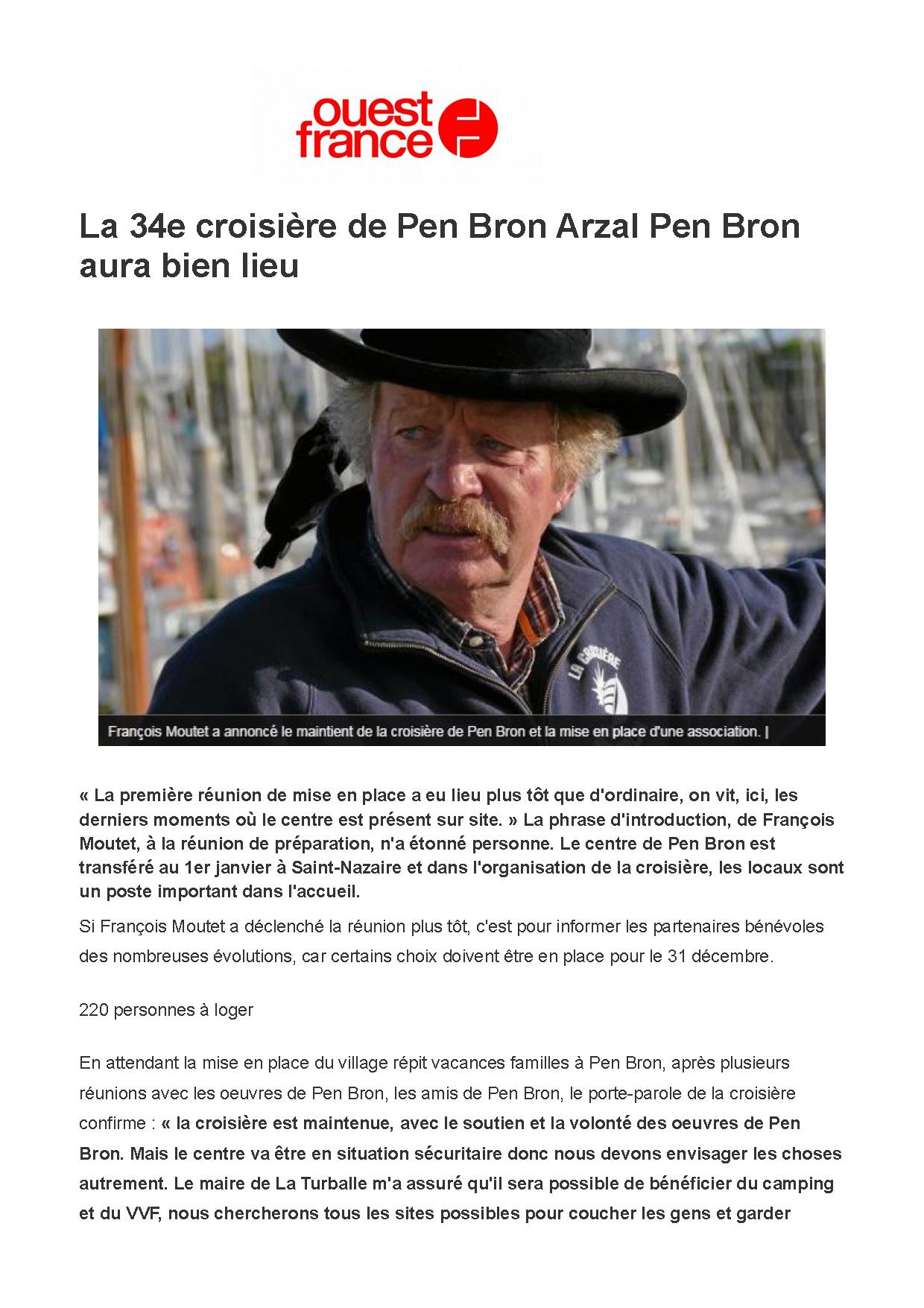 La 34e croisière de Pen Bron Arzal Pen Bron aura bien lieu