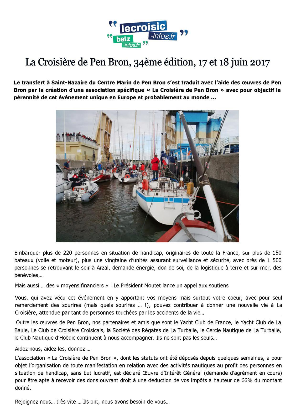La Croisière de Pen Bron, 34ème édition, 17 et 18 juin 2017