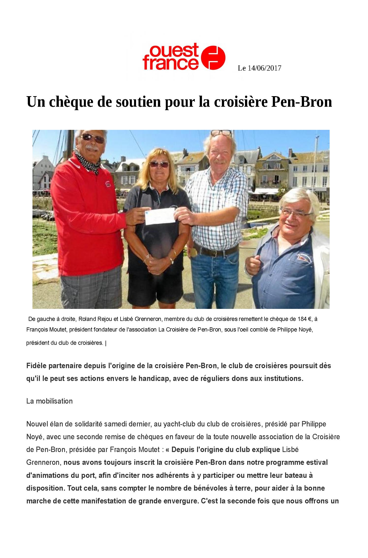 Un chèque de soutien pour la croisière Pen-Bron